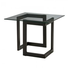 Black Geo End Table with Glass -- Modern event style from CORT Events. | cortevents.com