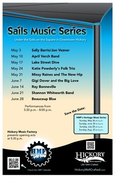 Free Concert Series - Sails Music Series Poster for May and June 2013 concerts - live music on Union Square under the Sails