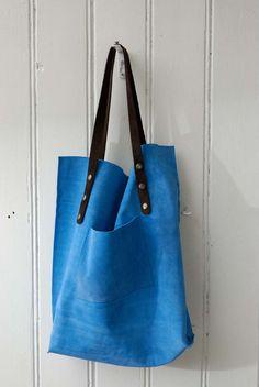 leather tote bag   light blue suede KP 1227 Borse In Pelle Fatti A Mano e7781a37289