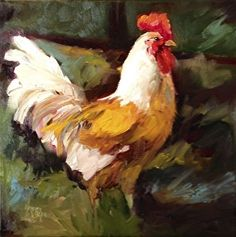 "King Of The Coup! by Norma Wilson Oil ~ 12"" x 12"" Chicken, Rooster"