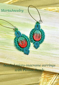 Picasso earrings bohemian micro-macrame earrings by MartaJewelry