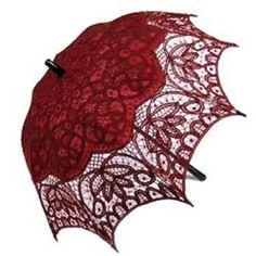 Dark Red Wine Battenburg Lace Parasol, Victorian Sun Umbrella, Chic Elegant NEW! #Unbranded #Parasol