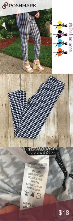 Houndstooth leggings Brand new in package these are my favorite kind of leggings because they are buttery soft and don't fade because they are poly/spandex instead of cotton! OSFM so a 4-12 can fit into these nicely with the elastic waist. 92% poly 8% spandex - perfect in any season pair it like pictured in warmer months or with a big cozy scarf and sweater in the winter ****listed as a medium because OSFM is not an option Pants Leggings