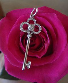 Tiffany & Co Crown Key Pendant Diamond and White Gold Pendant