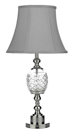 Chrome shade lamps google chrome pinterest justine table lamp has a cut crystal and polished chrome base with complimenting grey shade aloadofball Choice Image