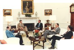 Photo of President Ronald Reagan and Cabinet with Congressman Robert Lagomarsino.