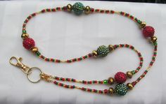 Christmas Ornament Lanyard Red Green Gold ID by TheLanyardNecklace