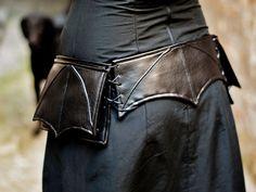 Black leatherette belt bag with bat wing, hip bag, utility belt,pocket belt, faux leather,travel belt