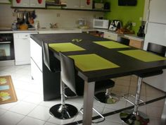 Ilot central table escamotable cuisine pinterest - Cuisine avec ilot table ...