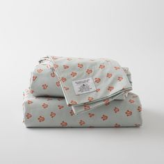 sheet set | schoolhouse electric | cotton percale | red, orange, grey | floral, scotland | $200K, $170Q, $150F