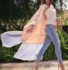 Pastel Peach Silk & Organza Kimono - Ramadan/Eid 2016