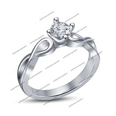 Rd White Sim Diamond 14k White Gold Fn 925 Silver Solitaire With Accents Ring #Unknown #SolitaireWithAccentsRing