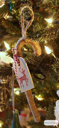 Atta Girl Says | Twine Candy Cane Handmade Christmas Ornaments | http://www.attagirlsays.com