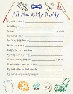 All About My Daddy Printable - a perfect gift for kids to give on Father's Day!