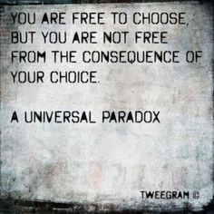 """Not quite accurately worded - and author missing, but cute stye.  Should be: """"You are free to choose, but you are not free to alter the consequences of your decisions."""" ― Ezra Taft Benson"""