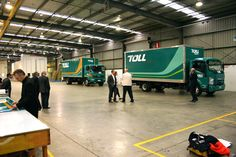 Behind the scenes: Full scale vinyl mockups of colour options for the Toll trucks.