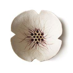 Ceramic bowl Poppy flower bowl in cream pottery Wedding or