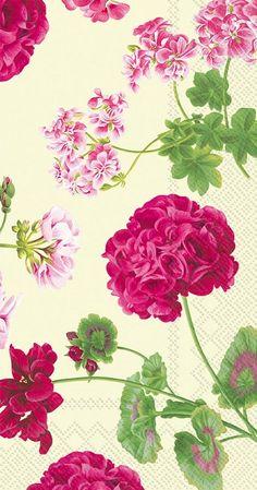 IHR Geraldine Pink Green Floral Printed 3-Ply Paper Guest Towels Wholesale BF604129