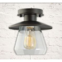 "Globe Electric Company Barbara 1 Light Semi Flush Mount $42 Fixture: 8"" H x 8"" W x 8"" D Shade: 8"" D"