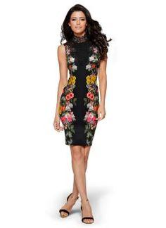 Vestido tubinho com renda guipir, preto floral
