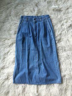 Denim Midi Skirt by littlewrensvintage on Etsy