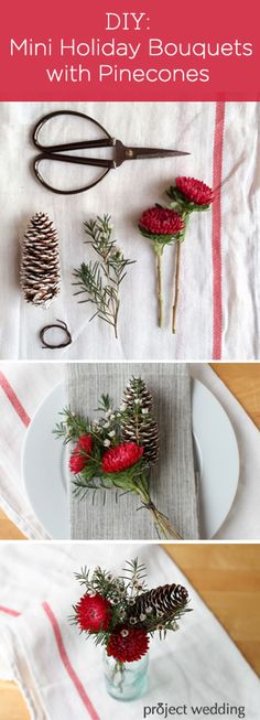 DIY Mini Holiday Bouquets with Pinecones | Love these for a winter wedding or party decor! I wonder if it could be a boutineer