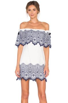 7c72ea6c696a30 SAYLOR Esme Dress in Cream  amp  Blue Ladies Dress Design