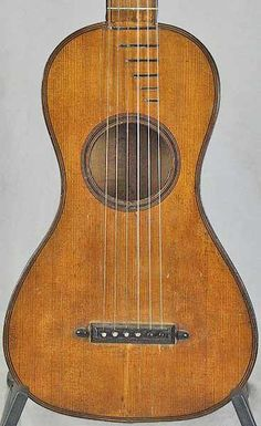 Early Musical Instruments, antique Romantic Guitar by Francois Bastien 1800s