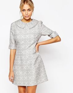 ASOS - Fashion Union Brocade Aline Dress with Collar