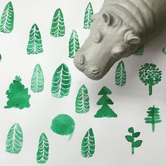 Going to forest to play! #ideaco#hippopotamus#cute#toy#object#interior#forest#instagood#go#illustration