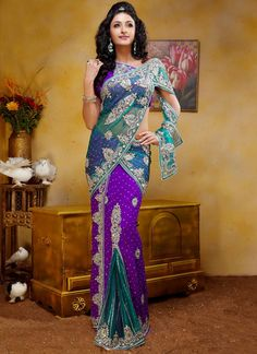 Georgette Jacquard And Net Butterfly Pallu Saree