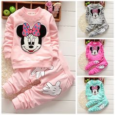 61166b16b 2pcs Baby Girls Minnie Mouse Hoodie Tops +Pants Kid Winter Outfits Set  Tracksuit | eBay