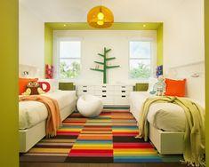 Gestaltung kinderzimmer gestalten wandgestaltung schreibtisch kleiderschrank teppich2