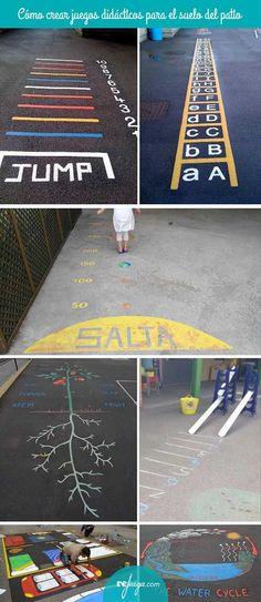Cómo crear juegos didácticos para pintar en el patio