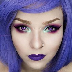 A close up of my purple makeup, I wish I could have purple eyes like this! How cool would that be?! 💜🌙 •  •  •  •  •  #mothqueenmakeup #altmodel #altgirl #pentagramharness #lushwigsviolet #lushwigs #purple #purplemakeup #purpleeyes #makeupgoals #makeuplover #makeupartist