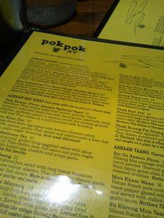 Menu from Pok Pok NY in Brooklyn, NY.