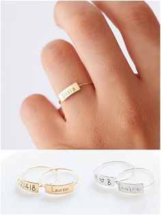 Personalize anything you want on this awesome dainty ring! Perfect everyday ring so comfortable that you can hardly feel them. They also make great gifts for bridesmaids gifts, graduations, birthdays, etc. :)  I D E A S Graduation year in Roman Kids Names Roman Date Initials Names Short words Symbols  ---------------------------------  DETAILS THE PERFECT GIFT ❤ - This listing is for ONE Personalized Bar Ring. - The mini bar measures roughly 5 x 11mm. - Material: Top Quality Sterling Silver…