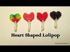 sandylandya.Corazón del arco iris en forma de Loom Lollipop Charm - Cómo - Día de San Valentín - YouTube