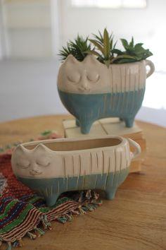 Kalalou Ceramic Cat Planters, Set Of 2 Ceramic Pinch Pots, Ceramic Planters, Cement Pots, Ceramic Pottery, Ceramic Art, Slab Pottery, Thrown Pottery, Pottery Vase, Ceramic Bowls