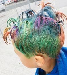Crazy hair day of October 2018 Wacky Hair Days, Crazy Hair Days, Coloured Hair Spray, Ponytail, Blonde Hair, Dreadlocks, Hair Styles, Beauty, Color