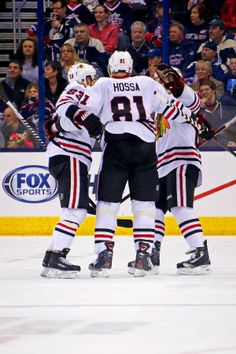 COLUMBUS, OH - APRIL 4: Marian Hossa #81 of the Chicago Blackhawks is congratulated by his teammates after scoring a goal against the Columbus Blue Jackets during the second period on April 4, 2014 at Nationwide Arena in Columbus, Ohio. (Photo by Kirk Irwin/Getty Images)