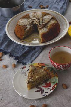 olive oil & pear upside down skillet cake with ginger syrup