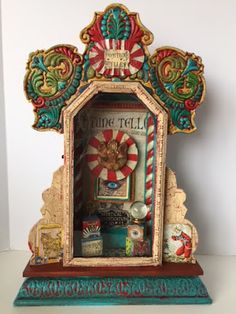 Your place to buy and sell all things handmade - assemblage art Painted Wooden Boxes, Hand Painted, Antique Clocks, Vintage Clocks, Found Art, Fortune Teller, Folk, Arte Popular, Assemblage Art