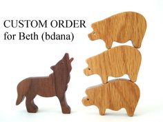 CUSTOM ORDER for Beth (bdana): Three Wooden Toy Pigs and One Wood Toy Wolf