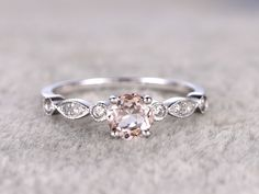 0.5 Carat Round Morganite Engagement Ring Diamond Promise Ring 14k White Gold Art Deco Antique Milgrain