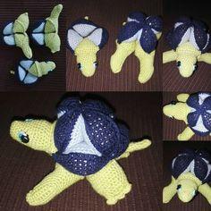 Doudou puzzle tortue crocheté de la boutique carofaitmain sur Etsy