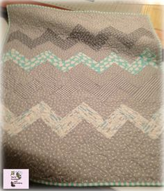 Baby Boy Chevron Pattern Blanket with a Anchor by tinialabini