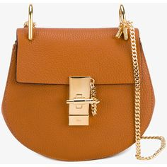 Chloé Mini Drew shoulder bag (£1,050) ❤ liked on Polyvore featuring bags, handbags, shoulder bags, chloe handbags, handbag purse, man shoulder bag, brown handbags and mini purse