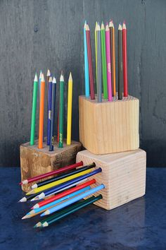 Wood Block Pencil Holder with Pencils Reclaimed Wood by ShopWalrus, $14.95