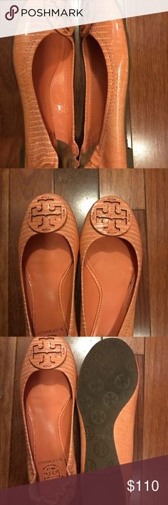 Flats flats and more flats! Orange Tory flats! Worn once! Tory Burch Shoes